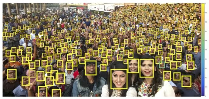 연구팀은 단체사진에서 흐릿하고 아주 크기가 작은 얼굴까지도 얼굴인식 확률을 높이는 새로운 기술을 개발했다. 오른쪽 끝 가로 막대가 얼굴일 확률을 나타낸다. 노란색이 100%, 파란색이 0%. - Carnegie Mellon University 제공